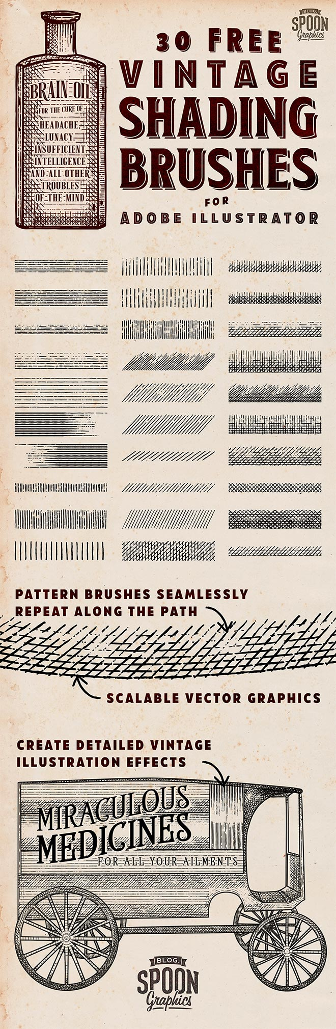 30个免费的Adobe Illustrator老式底纹画笔