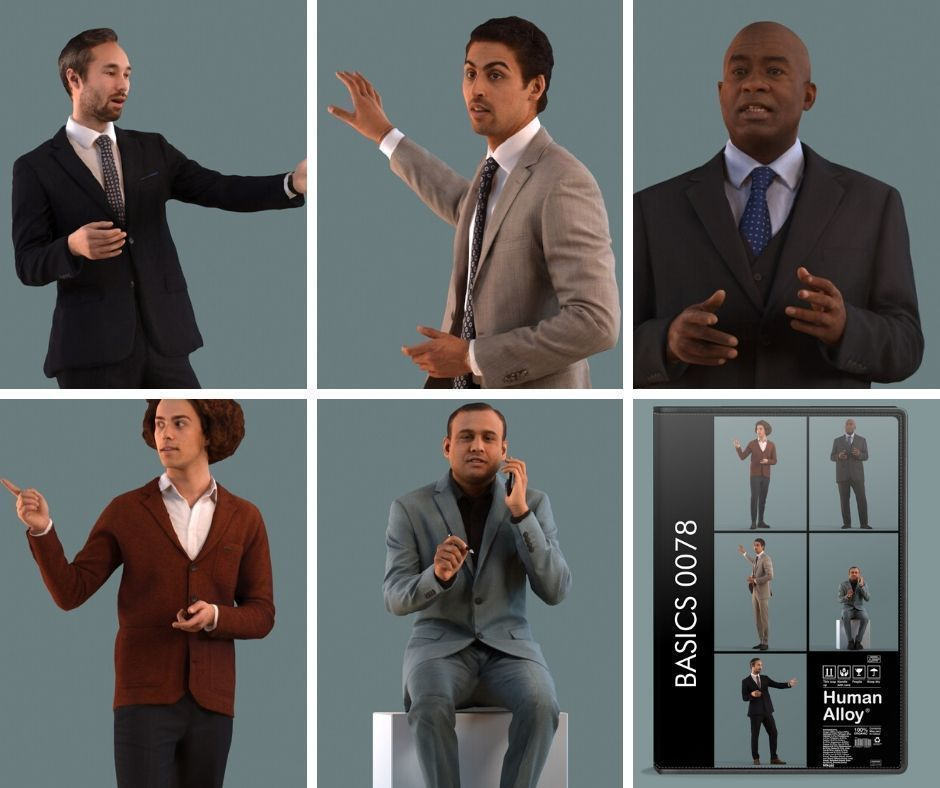 Set of 3D men presenting a project