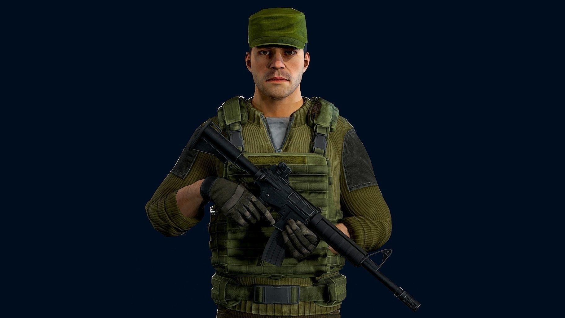 Modular military character - demo scene
