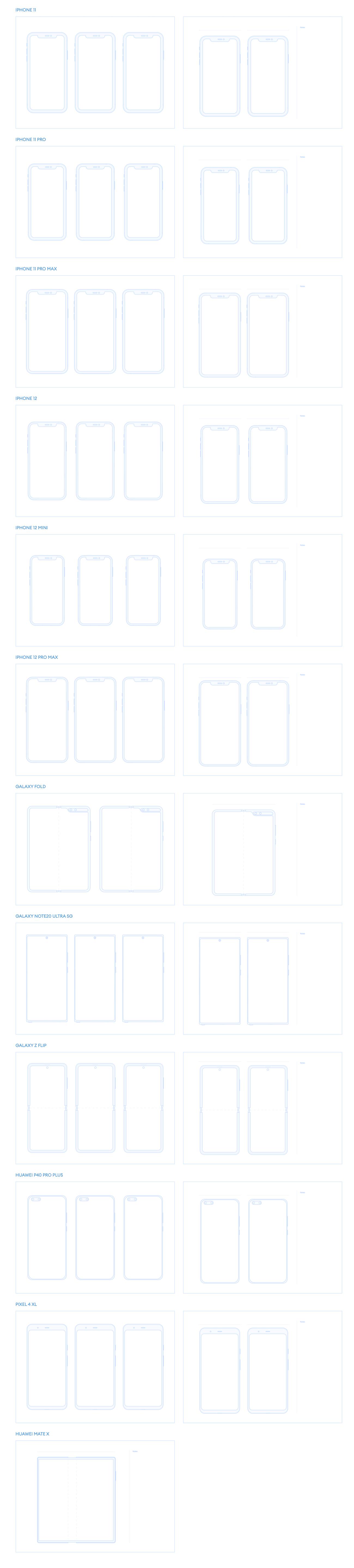 Figma的可打印免费模板-用于移动草图的免费可打印模板。 开始以清晰的头脑和屏幕结构的表示来创建您的应用程序。 包装中有12台设备(适用于iPhone和Android),因此您可以在多台设备上显示。