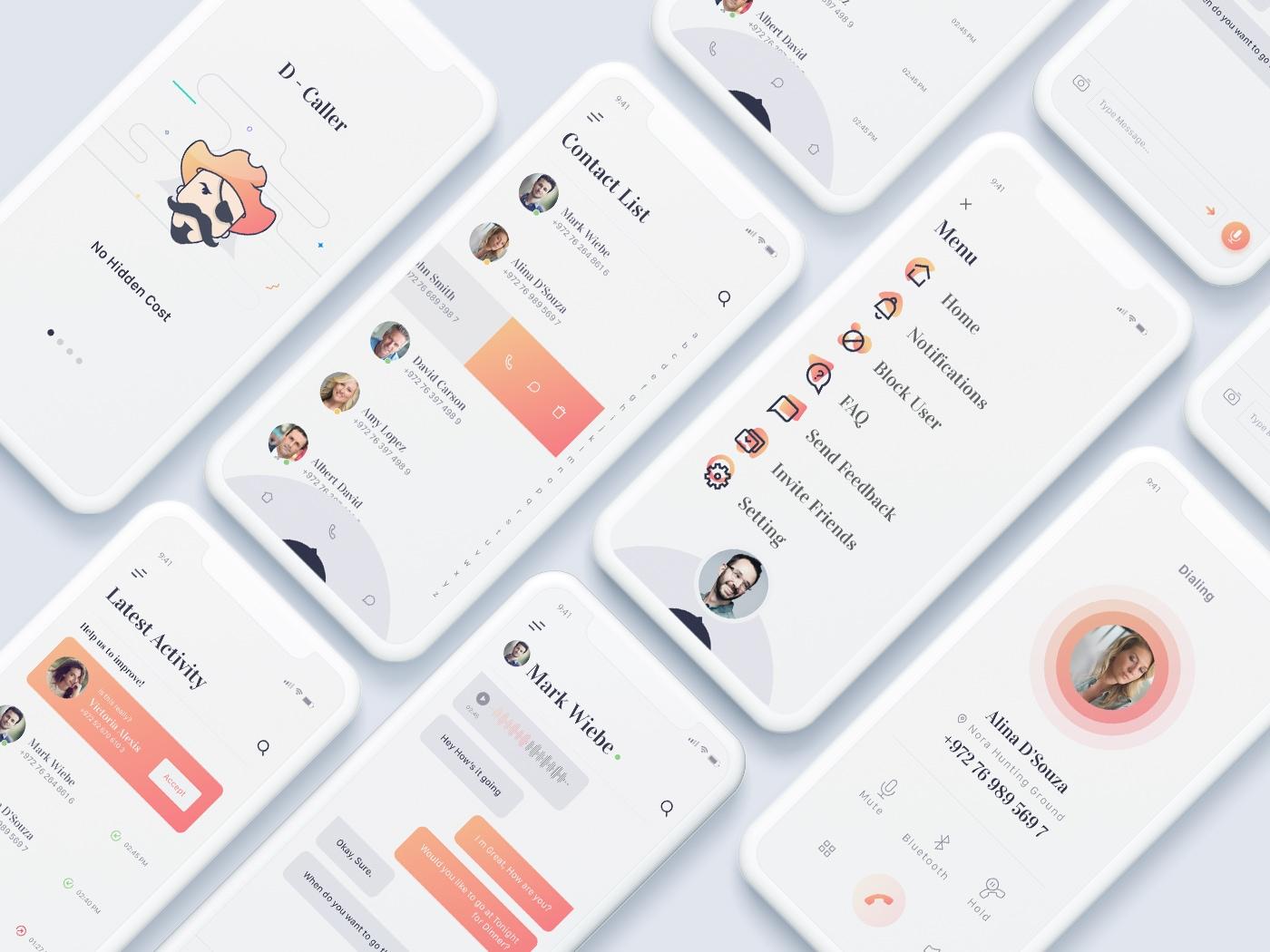 D-Caller移动用户界面工具包-Decojent提供的干净优雅的App,有6个屏幕可供您入门