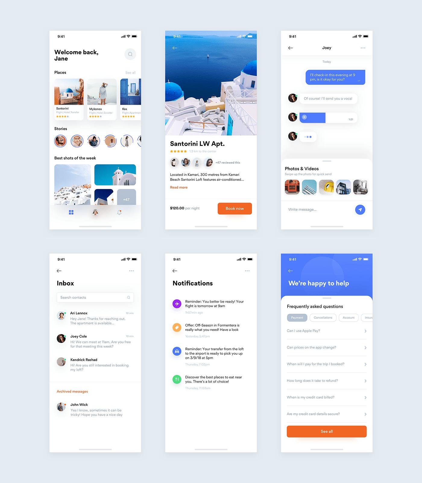 Greece Freebie-最小,最干净的应用程序设计,为您提供6个屏幕