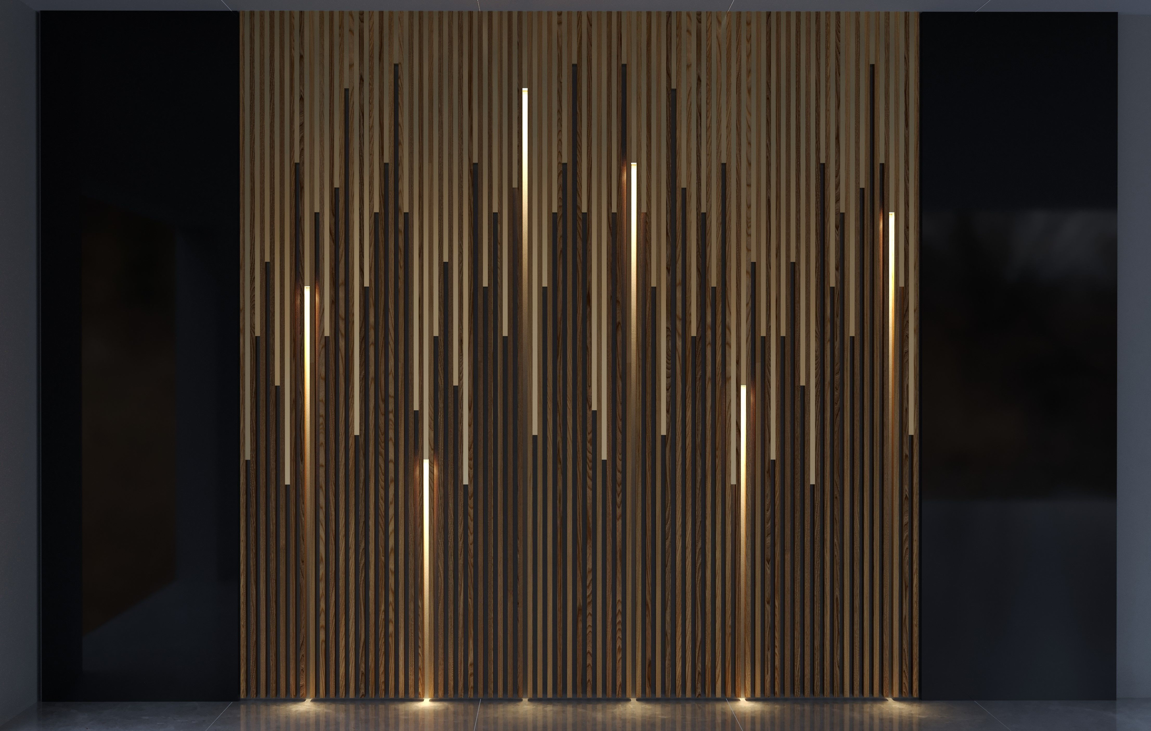 Wood And Brass with Lights Wall Panel