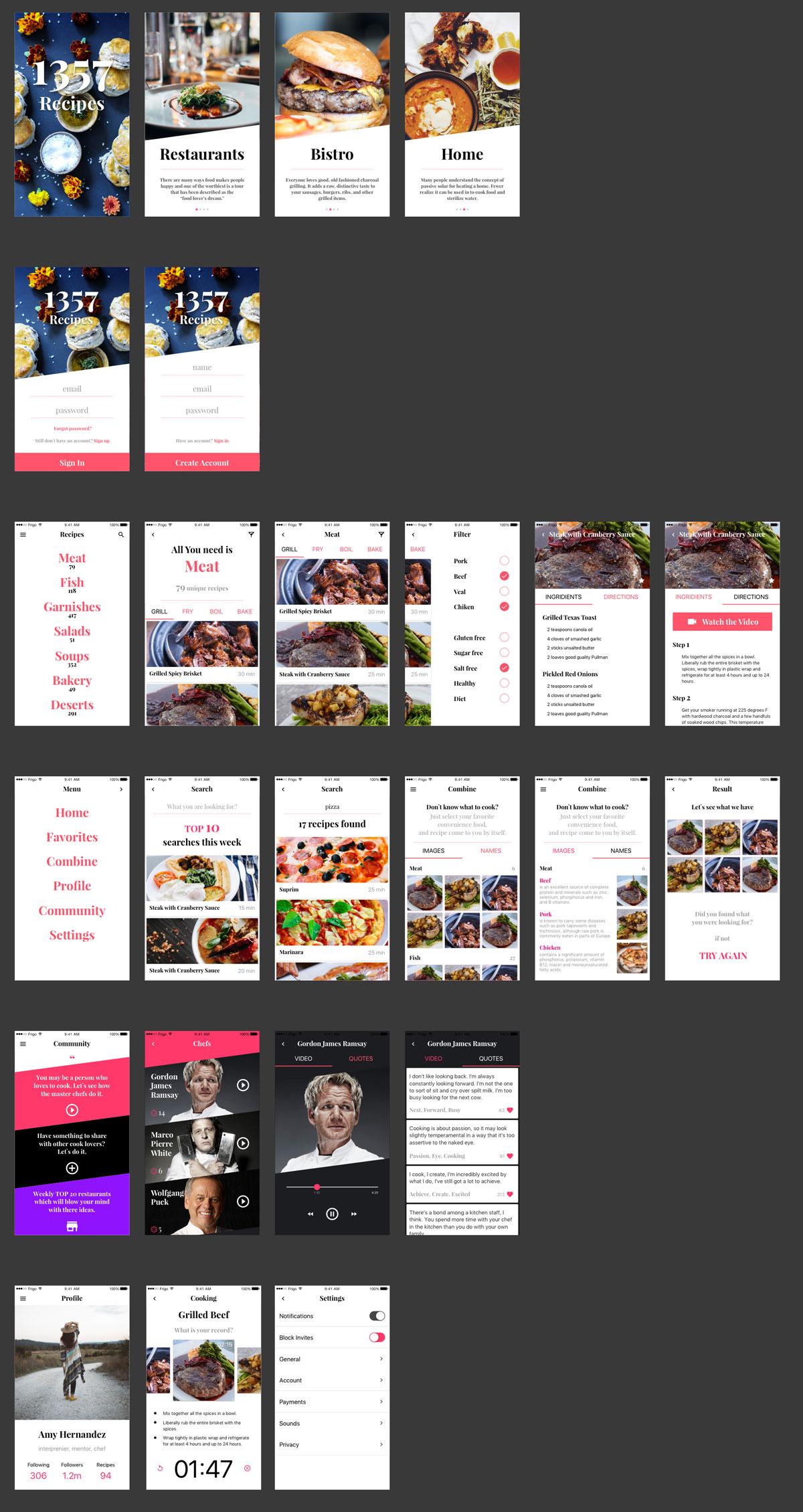 1357 Recipe App UI Kit - 现代优雅的 Sketch 电子商务 UI 套件,在您的下一个项目中有 25 个基本屏幕。