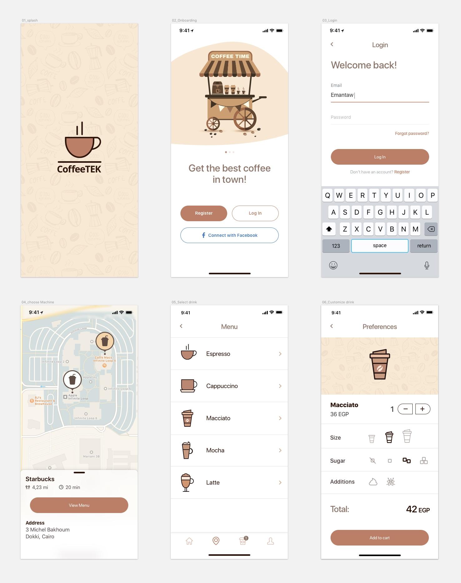 Coffee App Freebie - 最小和干净的应用程序设计,6 个屏幕供您上手