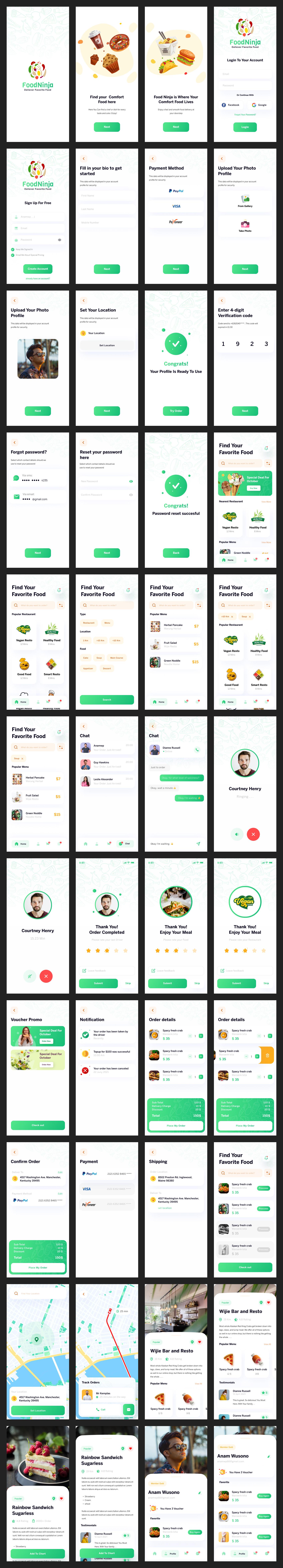 用于 Figma 的送餐免费 UI 套件 - 80 多个超级干净和绿色的超赞屏幕,非常适合健康的瘾君子,可免费下载用于商业和个人目的。