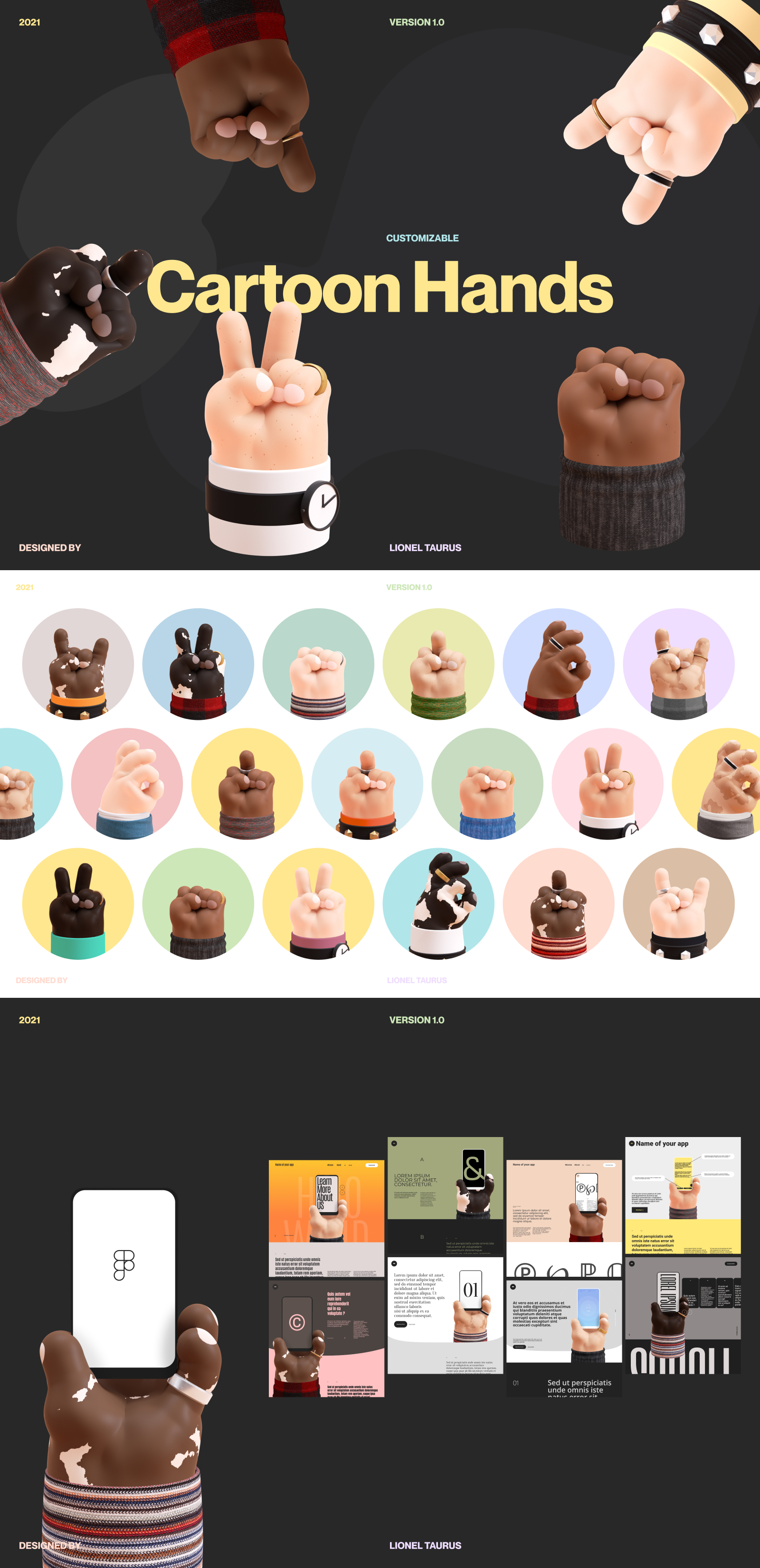 Figma 的免费 3D 卡通手模型 - 3D 卡通手的集合,手工制作,用于您的设计和插图! 手由组件制成,因此您可以制作自己的并创建变体。
